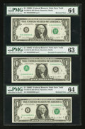 Error Notes:Inverted Third Printings, Fr. 1907-B $1 1969D Federal Reserve Notes. Three ConsecutiveExamples. . ... (Total: 3 notes)
