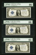 Small Size:Silver Certificates, Low Serial Number Fr. 1600 $1 1928 Silver Certificates. Three Consecutive Examples.. ... (Total: 3 notes)