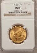 Indian Eagles: , 1926 $10 MS65 NGC. NGC Census: (662/52). PCGS Population (337/10).Mintage: 1,014,000. Numismedia Wsl. Price for problem fr...