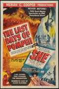 "Movie Posters:Adventure, The Last Days of Pompeii/She Combo (RKO, R-1948). One Sheet (27"" X41""). Adventure.. ..."