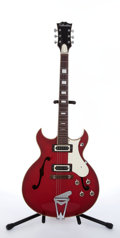 Musical Instruments:Electric Guitars, 1960's Silvertone 319 Red Archtop Semi-Hollow Body Electric Guitar# 14609...