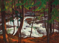 Mainstream Illustration, JOHN NEWTON HOWITT (American, 1885-1958). A Stream in theWoods. Oil on canvas. 40 x 30 in.. Signed lower left. ...