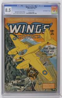 """Wings Comics #42 Davis Crippen (""""D"""" Copy) pedigree (Fiction House, 1944) CGC VF+ 8.5 Off-white pages"""