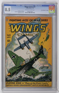 "Golden Age (1938-1955):War, Wings Comics #59 Davis Crippen pedigree (""D"" Copy) (Fiction House,1945) CGC VF+ 8.5 Off-white to white pages...."