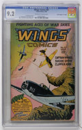 """Golden Age (1938-1955):War, Wings Comics #67 Davis Crippen pedigree (""""D"""" Copy) (Fiction House,1946 ) CGC NM- 9.2 Off-white to white pages...."""