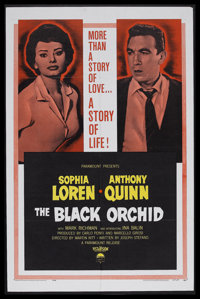 "The Black Orchid (Paramount, 1958). One Sheet (27"" X 41""). Romance. Starring Sophia Loren, Anthony Quinn, Mark..."