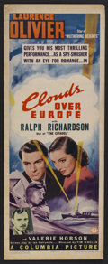 """Movie Posters:Thriller, Clouds Over Europe (Columbia, 1939). Insert (14"""" X 36""""). Thriller. Clearly one of the precursors to the lightly comical spy ..."""