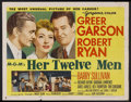 "Movie Posters:Comedy, Her Twelve Men (MGM, 1954). Half Sheet (22"" X 28"") Style A.Comedy/Drama. Starring Greer Garson, Robert Ryan, Barry Sullivan..."