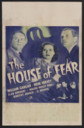 "Movie Posters:Mystery, The House of Fear (Universal, 1945). Window Card (14"" X 22"").Mystery. Starring William Gargan, Irene Hervey, Dorothy Arnold..."