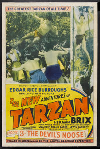 "The New Adventures of Tarzan (Burroughs-Tarzan-Enterprise, 1935). One Sheet (27"" X 41"") Chapter 3 -- ""The..."