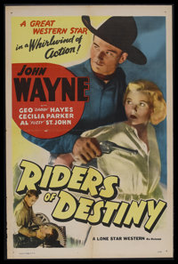 "Riders of Destiny (Lone Star Western, R-1940s). One Sheet (27"" X 41""). Western. Starring John Wayne, Cecilia P..."