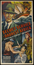 "Movie Posters:Action, Secret Service in Darkest Africa (Republic, 1943). Three Sheet (41""X 81""). Action Adventure. Starring Rod Cameron, Joan Mar..."