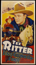 """Movie Posters:Western, Sing, Cowboy, Sing (Grand National, 1937). Three Sheet (41"""" X 81"""").Western. Starring Tex Ritter, White Flash the Horse, Lou..."""