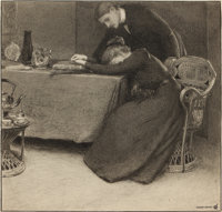 ALBERT HERTER (American, 1871-1950) Consolation Watercolor and ink on board 15-1/2 x 16 inches (3