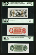 Fractional Currency:Third Issue, Fr. 1355SP 50¢ Third Issue Justice Wide Margin Set of Three PCGS Very Choice New 64, Choice New 63, and Choice About New 58PPQ... (Total: 3 notes)