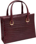 """Luxury Accessories:Bags, Gucci 1960's Bordeaux Shiny Crocodile Large Top Handle Bag withSignature Gold Stirrup Hardware, 12.5"""" x 9"""" x 5"""", Excellent Cond..."""