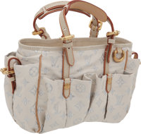 "Louis Vuitton Rare White Pastel Glitter Monogram Cabas Show Bag with Lizard Handles, 10"" x 8"" x 4"", Prist..."