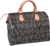 "Louis Vuitton Rare 2001 Stephen Sprouse Green Graffiti Speedy Bag, 12"" x 8"" x 7"", Pristine Condition"