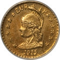 California Gold Charms, 1915 Round 1/4 California Gold, Minerva, Wreath MS67 NGC. Hart's Coins of the West series....