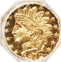 California Fractional Gold: , 1872 25C Indian Octagonal 25 Cents, BG-791, R.3, MS65 ProoflikeNGC. NGC Census: (13/8). (#710618)...