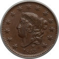 Large Cents: , 1833 1C MS63 Brown PCGS. PCGS Population (17/23). NGC Census:(27/73). Mintage: 2,739,000. Numismedia Wsl. Price for proble...