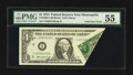 Error Notes:Foldovers, Fr. 1908-I $1 1974 Federal Reserve Note. PMG About Uncirculated55.. ...