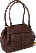 "Luxury Accessories:Bags, Loro Piana Elephant Gray Matte Crocodile Medium Globe Bag, 11"" x 8"" x 5"", Excellent Condition. ..."