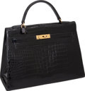 "Luxury Accessories:Bags, Hermes Special 1960's Black Shiny Crocodile Rigid Kelly Bag withGold Hardware, 13"" x 9"" x 4.5"", Very Good Condition . ..."
