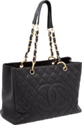 """Luxury Accessories:Bags, Chanel Black Caviar Leather Classic Grand Shopper Tote Bag, 13"""" x9"""" x 5.5"""", Excellent Condition. ..."""