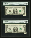 Error Notes:Foldovers, Fr. 1907-K $1 1969D Federal Reserve Notes. Two ConsecutiveExamples.. ... (Total: 2 notes)
