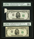Error Notes:Error Group Lots, Fr. 1961-D $5 1950 Wide I Federal Reserve Note. PMG Choice AboutUnc 58 EPQ. Fr. 1965-B $5 1950D Federal Reserve Note. PMG...(Total: 2 notes)