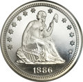 Proof Seated Quarters, 1886 25C PR68 Ultra Cameo NGC....