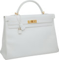 Luxury Accessories:Bags, Hermes 40cm White Epsom Leather Kelly Bag with Gold Hardware,Pristine Condition. ...