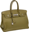 "Luxury Accessories:Bags, Hermes 35cm Vert Chartreuse Clemence Leather Birkin Bag with Palladium Hardware, 14"" x 11"" x 7"", Excellent Condition . ..."