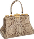 "Luxury Accessories:Bags, Judith Leiber Natural Snakeskin Doctor Bag with Gold GrommetHardware, 12"" x 7"" x 6"", Very Good Condition. ..."