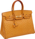 "Luxury Accessories:Bags, Hermes 35cm Saffron Ostrich Birkin Bag with Gold Hardware, 14"" x11"" x 7"", Very Good Condition. ..."