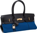 "Luxury Accessories:Bags, Hermes Rare Black Box Leather & Blue Canvas Potamus JPGShoulder Birkin Bag with Gold Hardware, 16.5"" x 7.5"" x 8.5"",Pristine Co..."