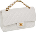"Luxury Accessories:Bags, Chanel White Quilted Lambskin 25cm Classic Double Flap Bag withGold Hardware, 10"" x 6.5"" x 3"", Excellent Condition. ..."