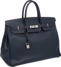 """Luxury Accessories:Bags, Hermes 40cm Special Order Indigo Epsom Leather Birkin Bag with Rouge Vif Stitching and Palladium Hardware, 16"""" x 11"""" x 8"""", Excel..."""