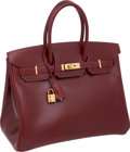 "Luxury Accessories:Bags, Hermes 35cm Rouge H Box Leather Birkin Bag with Gold Hardware, 14""x 11"" x 7"", Pristine Condition. ..."