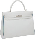 "Luxury Accessories:Bags, Hermes 35cm Two-Tone White Epsom Leather Kelly Bag with Blue JeanPiping and Palladium Hardware, 13.5"" x 9.5"" x 5"", Pristine Con..."