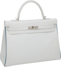 """Hermes 35cm Two-Tone White Epsom Leather Kelly Bag with Blue Jean Piping and Palladium Hardware, 13.5"""" x 9.5""""..."""