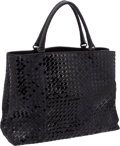"Luxury Accessories:Bags, Bottega Veneta Black Patent & Raw Leather Woven Large Tote Bag, 17"" x 13"" x 7"", Pristine Condition. ..."
