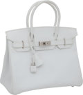 "Luxury Accessories:Bags, Hermes 30cm White Epsom Leather Birkin Bag with Palladium Hardware,12"" x 8.5"" x 6"", Pristine Condition. ..."