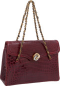 "Luxury Accessories:Bags, Jacomo of Paris Shiny Bordeaux Crocodile Flap Bag, 9.5"" x 6.5"" x3"", Very Good Condition . ..."
