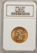 Liberty Eagles, 1895-S $10 MS60 NGC....