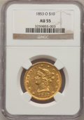 Liberty Eagles, 1853-O $10 AU55 NGC....