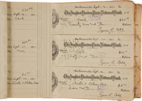 1931-32 Ty Cobb Ledger Containing 132 Signed Personal Checks