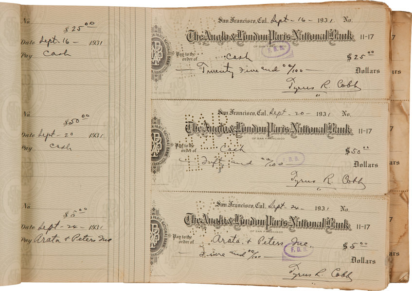 1931 32 ty cobb ledger containing 132 signed personal checks