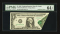 Error Notes:Foldovers, Fr. 1913-H $1 1985 Federal Reserve Note. PMG Choice Uncirculated 64EPQ.. ...